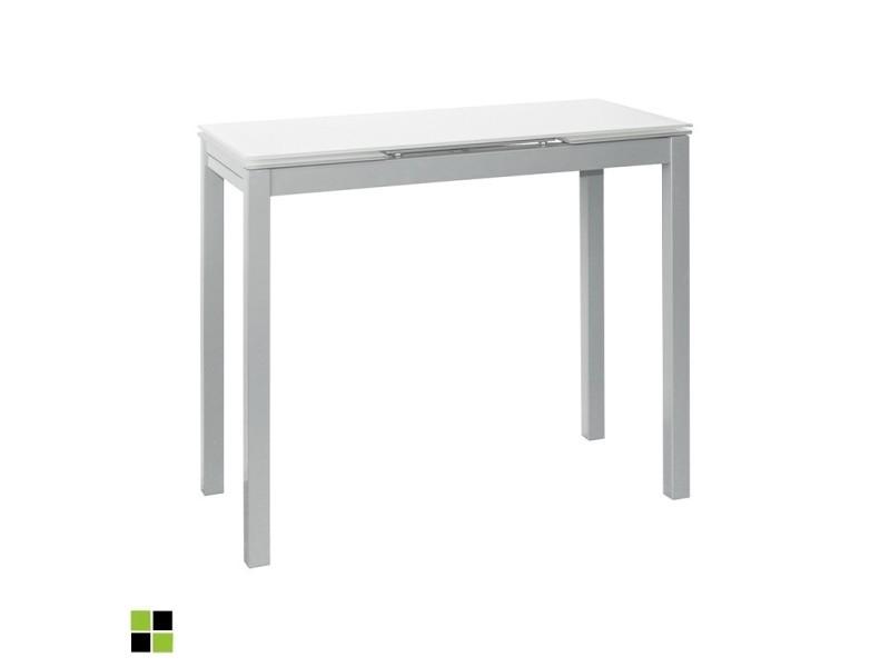 Momma home - Table de cuisine NOVI extensible et rectangulaire avec plateau en verre BLANC. Structure et piètement en métal laqué gris. MOMMA HOME