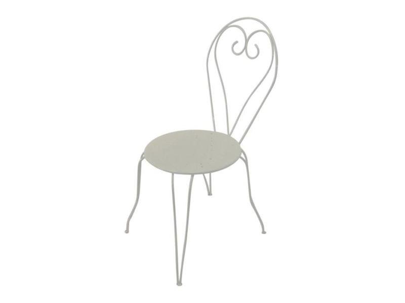 Chaise de jardin - fauteuil de jardin - tabouret de jardin lot de 4 chaises de jardin romantique empilable en fer forgé - blanc