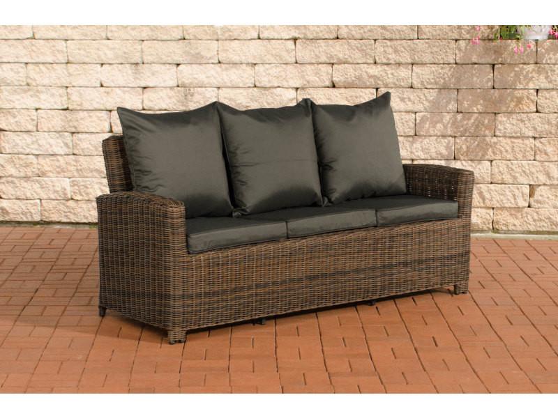 Canapé de jardin 3 places fisolo fibres de polyrotin rondes , marron marbré/anthracite