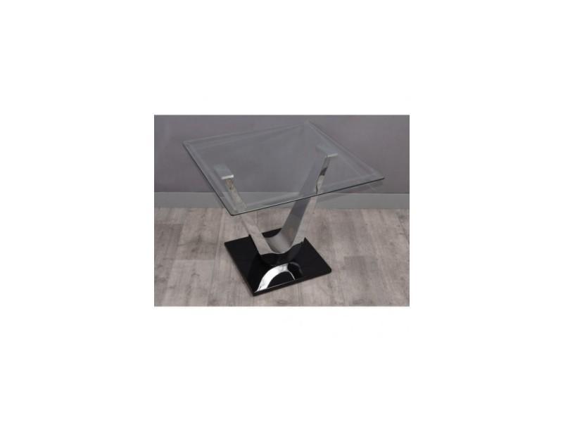 Table d'appoint bout de canape chrome variance