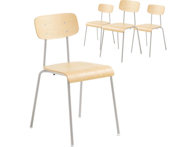 Chaises 4 Assise Contreplaqué Lot Gris Design De Dossier En Bois Et Yf7gyIbv6