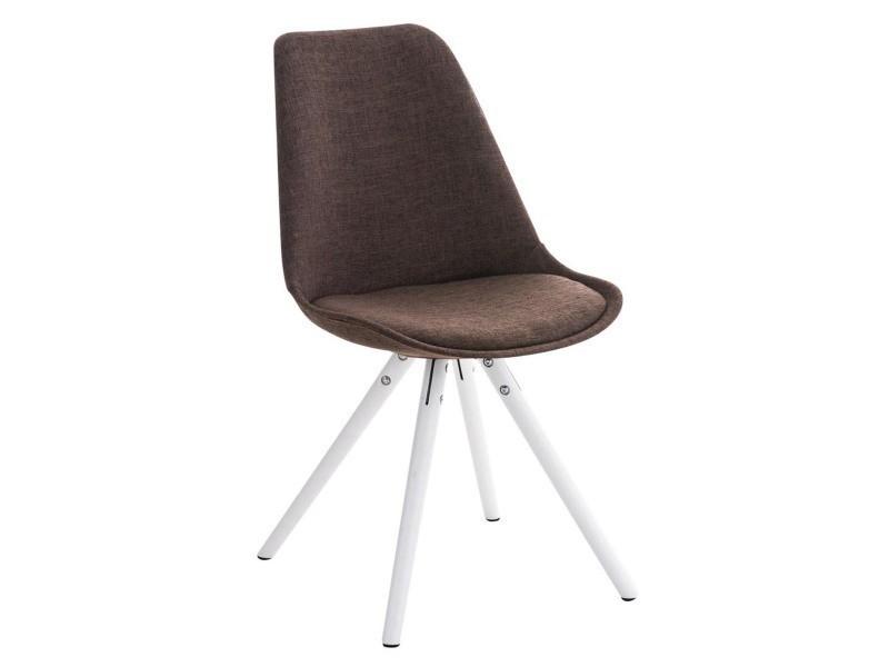 Chaise ronde en bois et tissu blanc/brun - 84 x 47 x 59 cm - pegane -