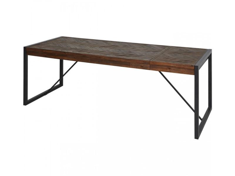 Bobochic table extensible 180 à 230 cm tailt bois acacia massif et noir