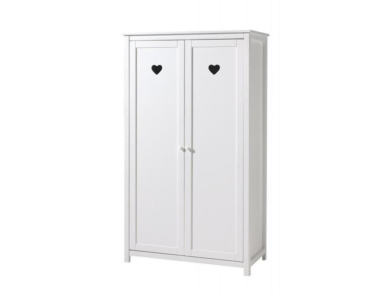 Vipack amori armoire 2 portes laqué blanc AMKL1214