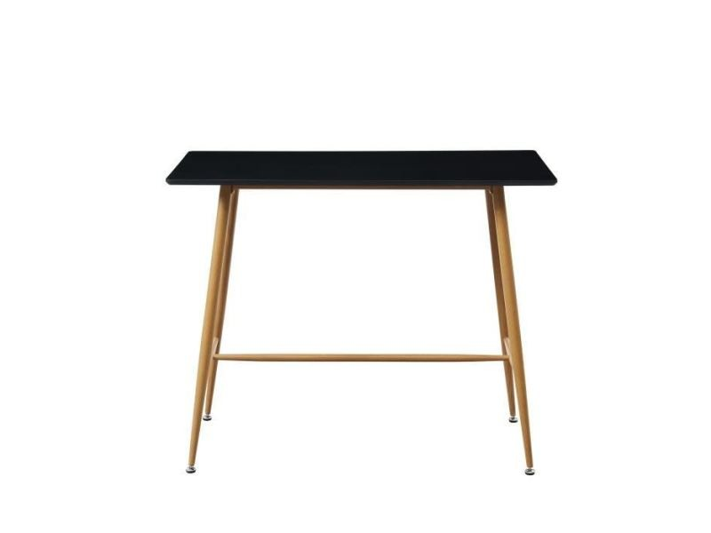 Table a manger seule alina table bar scandinave - noir laqué satiné - l 120 x l 60 cm