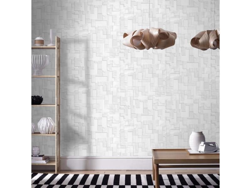 Papier peint intissé geo 1005 x 52cm blanc 5631430