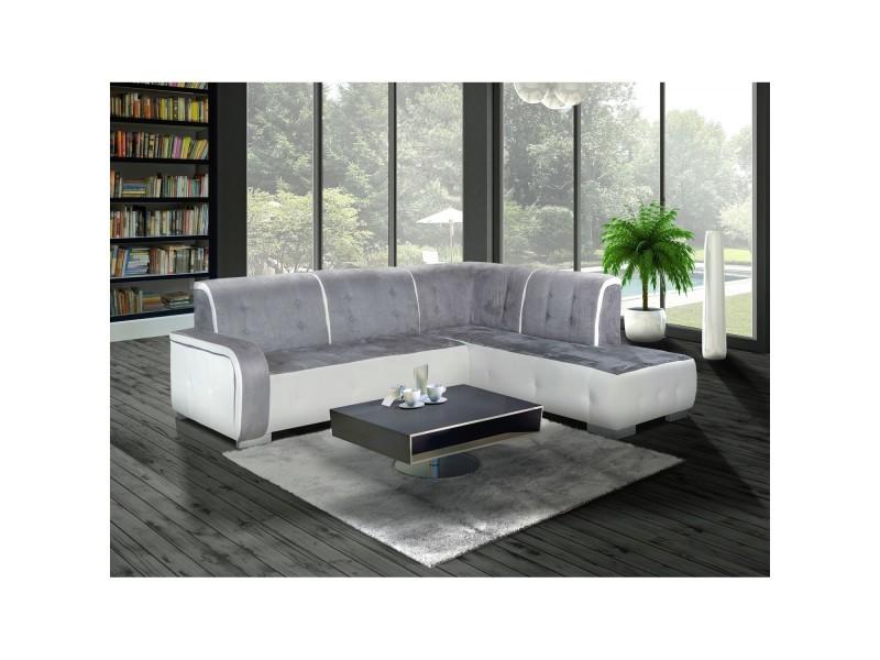 Canap d 39 angle droit florida gris et blanc vente de canap d 39 angle - Canape gris blanc conforama ...