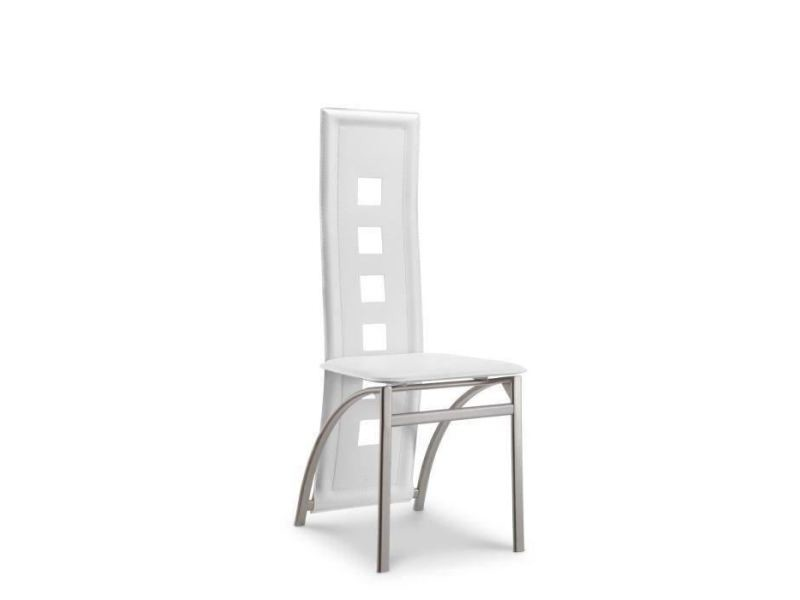 chaise salle a manger blanche pied aluminium