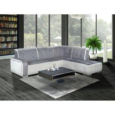Canap d 39 angle droit florida gris et blanc vente de - Canape d angle conforama ...