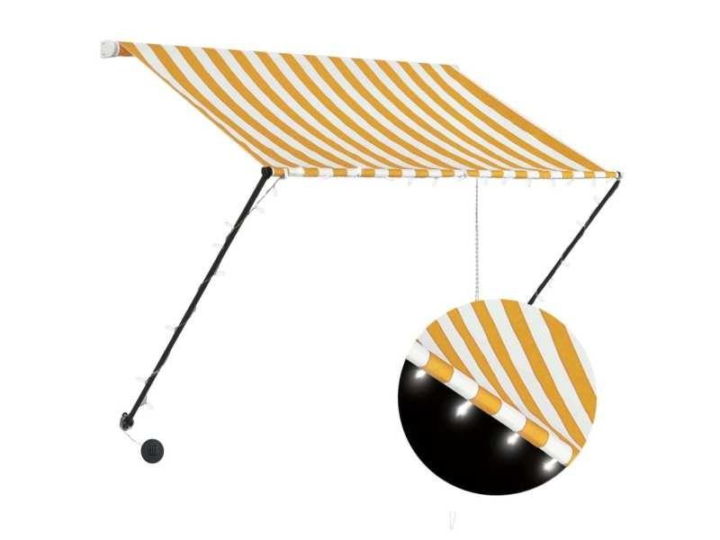 Vidaxl auvent rétractable avec led 150x150 cm jaune et blanc 145908