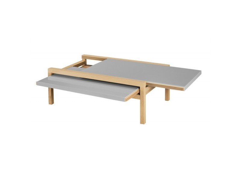 Table basse extensible chêne taupe 110 cm