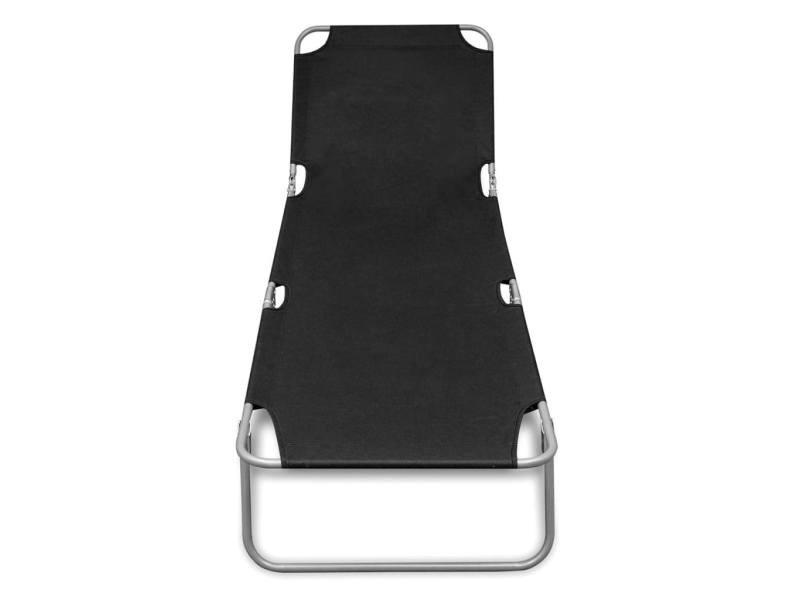 Icaverne - bains de soleil ensemble chaise longue pliable avec dossier réglable noir