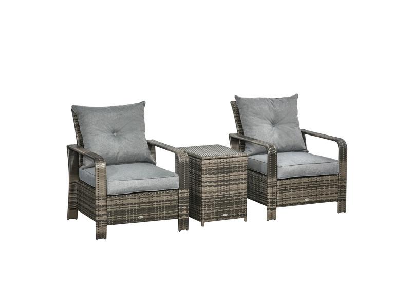 Ensemble de 2 fauteuils de jardin grand confort table basse coffre résine tressée imitation rotin coussins gris