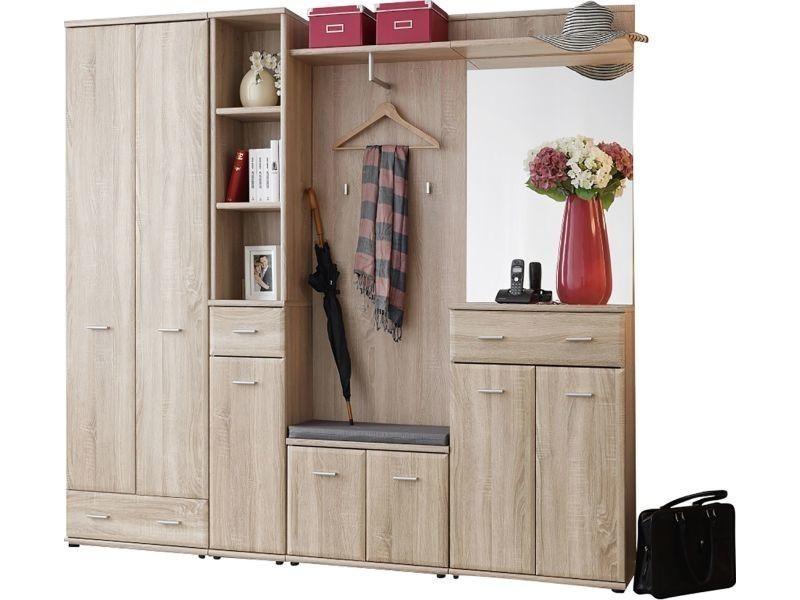 Ensemble vestiaire 210 cm avec 1 armoire-penderie + colonne de rangement + 1 petite armoire ...