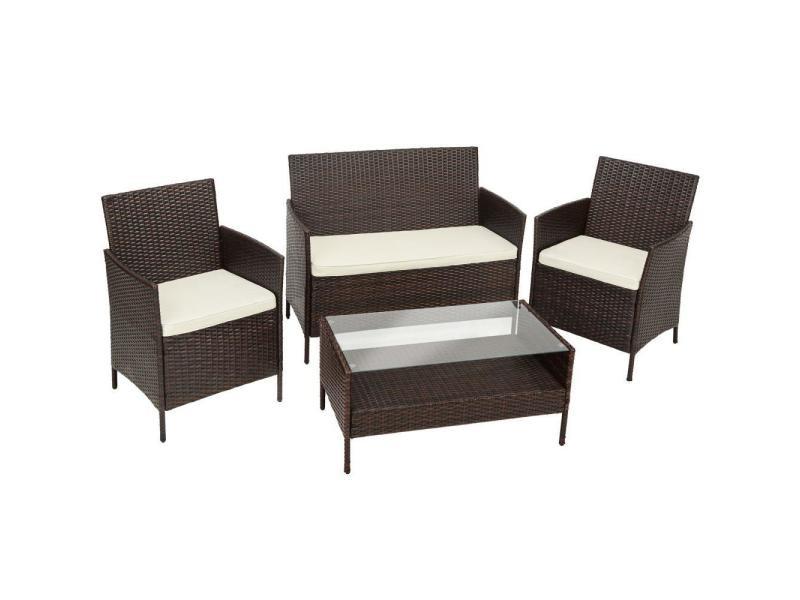 Salon de jardin rotin résine tressé synthétique 2 chaises fauteuils 1 banc 1 table marron helloshop26 2108069
