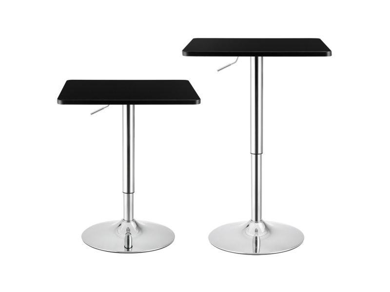 Table de bar carrée bistrot hauteur réglable mdf 60 x 60 cm noir helloshop26 03_0006198