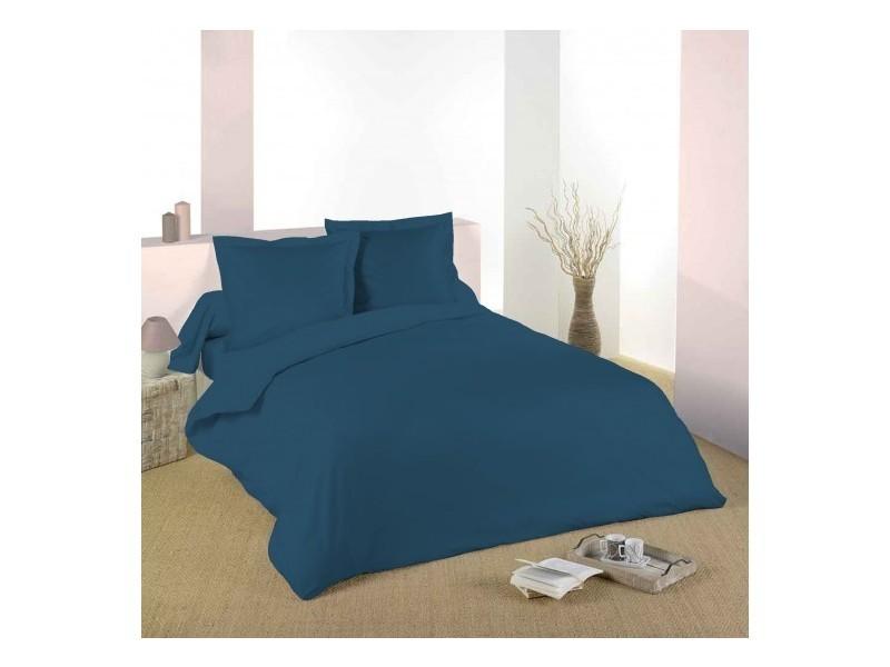 Housse de couette bleu marine 220 x 240 cm / 100% coton / 57 fils/cm² pour lit 2 places