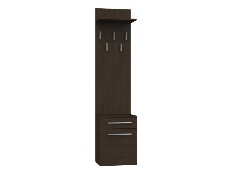 Vioni - meuble vestiaire d'entrée - portemanteau mural avec étgère - 5 crochets - tiroir + meuble de rangement - wengé