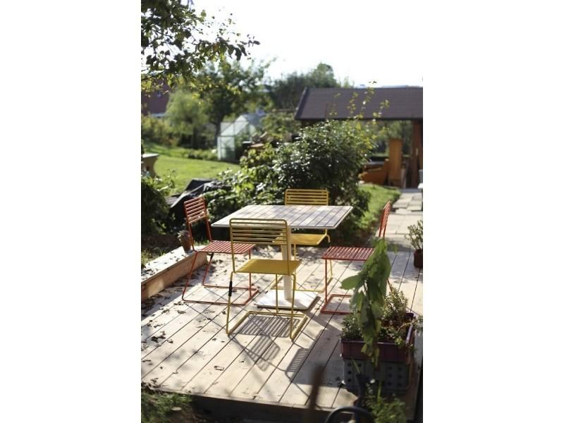 Salon de jardin egoe table tina carrée et 4 chaises métal ...