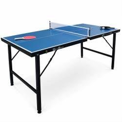 Mini table de ping pong pliable 150x75cm indoor bleue, avec 2 raquettes et 3 bal