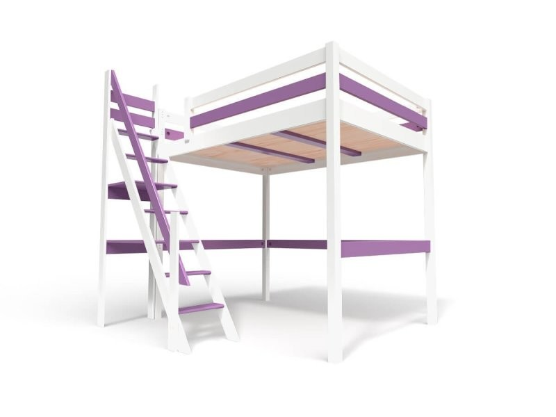 Lit mezzanine sylvia avec escalier de meunier bois 140x200 blanc/lilas 1140-LBLi