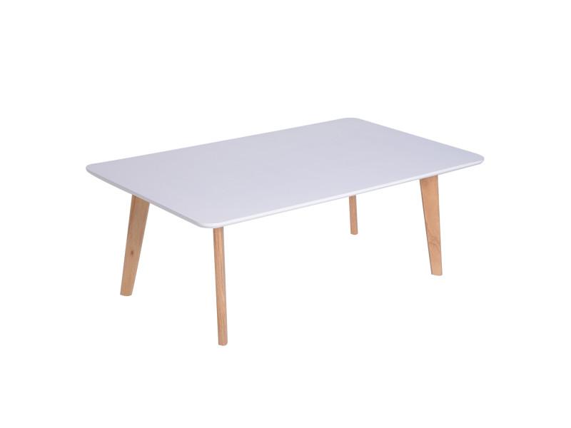 Table basse rectangulaire design scandinave dim. 120l x 70l x 45h cm mdf blanc bois massif caoutchouc