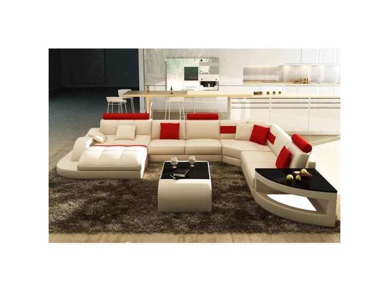 Canapé d'angle design panoramique blanc et rouge istanbul