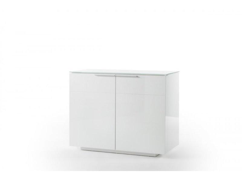 Commode cambridge blanc laqué brillant plateau en verre blanc 20100890547
