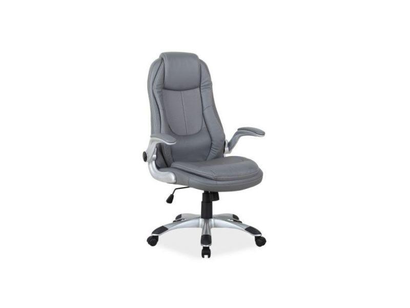 Trep | fauteuil de bureau avec accoudoirs réglables | hauteur : 116 126 cm | revêtement en cuir écologique | fonction tilt | gris