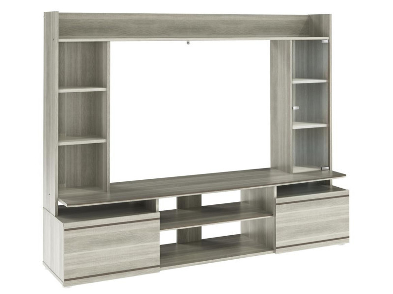 Meuble tv en bois laqué gris - dim : 165 x 40 x 131 cm -pegane-