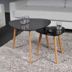 Lot de 2 tables basses gigognes onyx / noir