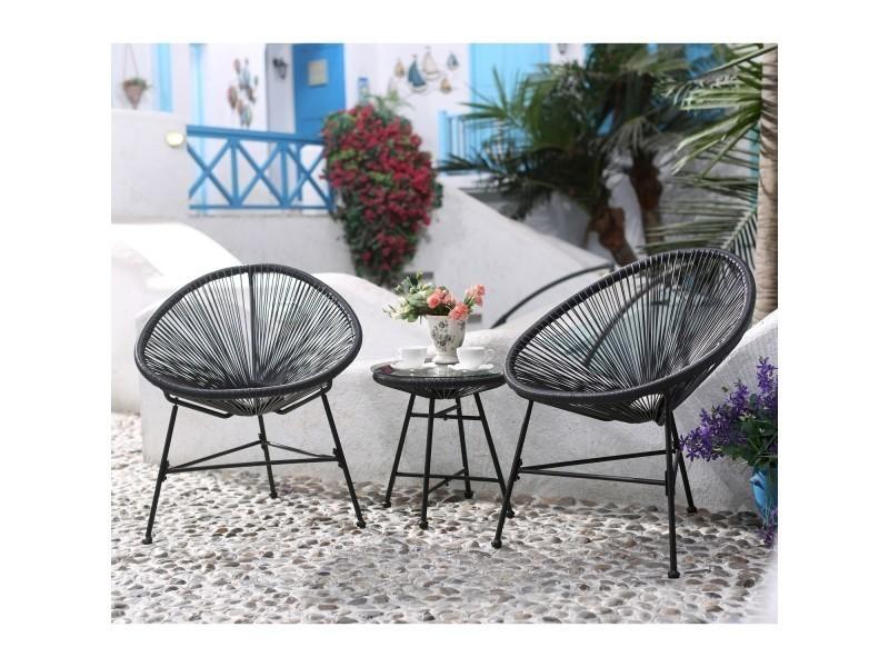Acapulco : ensemble 2 fauteuils oeuf + table basse gris - Vente de ...