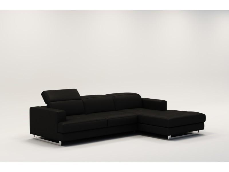 Canapé d'angle design en cuir noir cris-