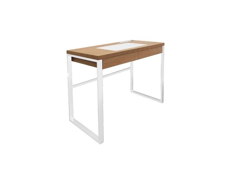 Bureau bois et métal blanc