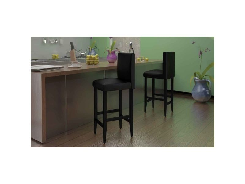 Vidaxl tabouret de bar 2 pcs cuir synthétique noir 240071 - Vente de VIDAXL  - Conforama 735e78cbfe86