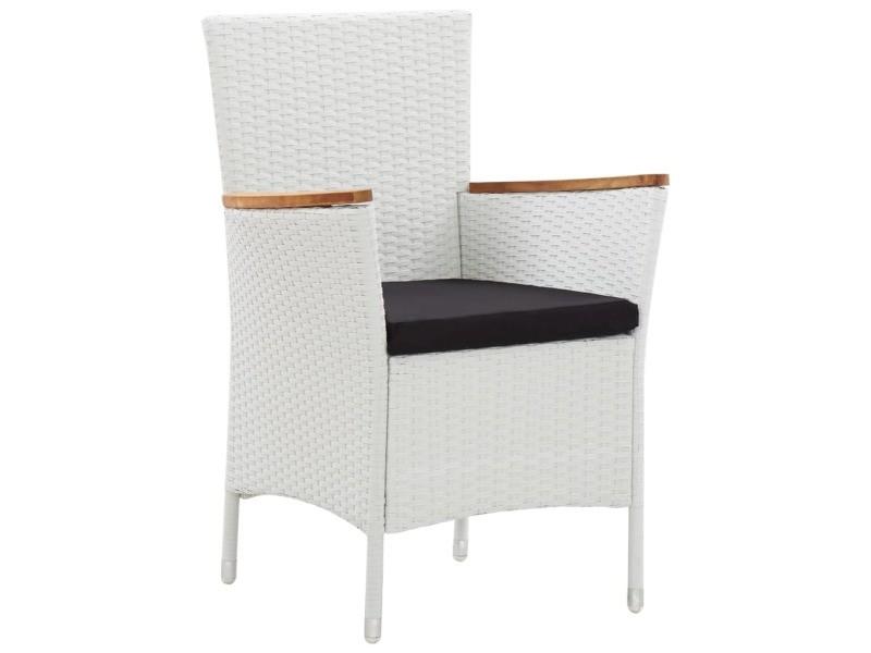 Vidaxl chaises de jardin 2 pcs blanc résine tressée 45983