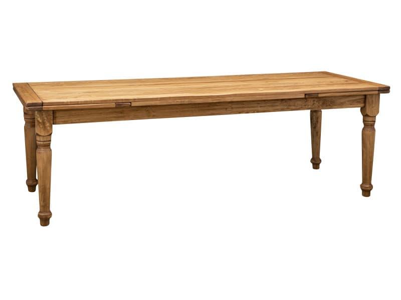 Table à rallonge bois massif de tilleul, finition naturelle