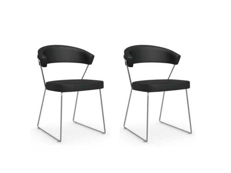 Lot de 2 chaises new york design italienne en cuir noir 20100881146