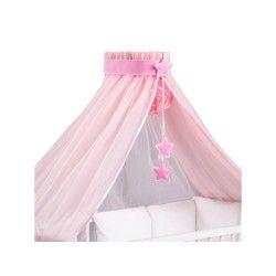 Ciel de lit bébé xxl rose et sa flèche