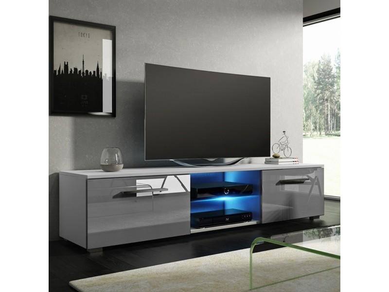 Meuble tv / banc tv - tenus - 140 cm - blanc mat / gris brillant - avec led