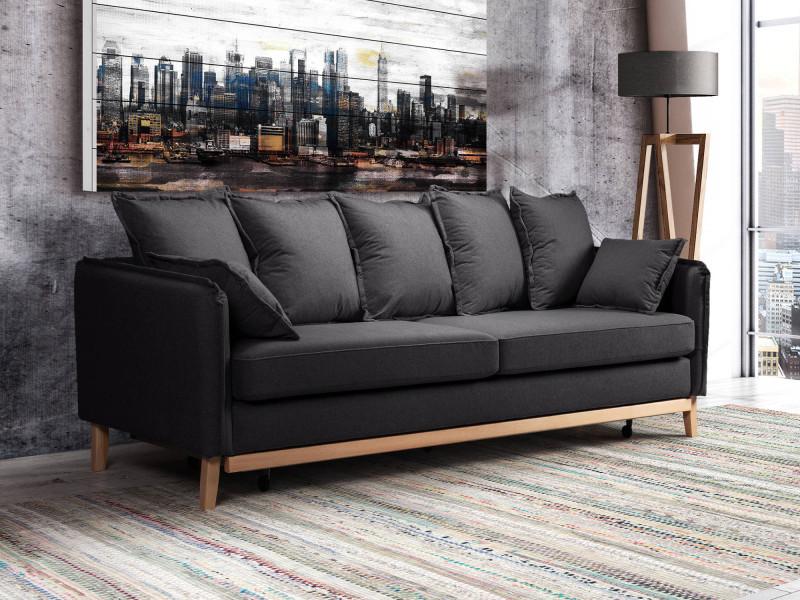 Alice - canapé 3 places convertible - en tissu - style scandinave couleur - gris foncé
