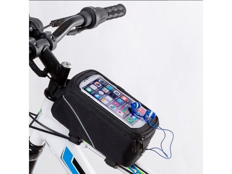 Sac à compartiment pour smartphone pour vélo - accroche portable couleur - noir