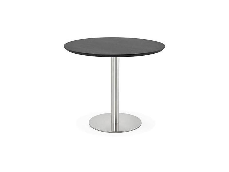 Table à manger ronde 90 cm plateau noir et pied en acier - bahia