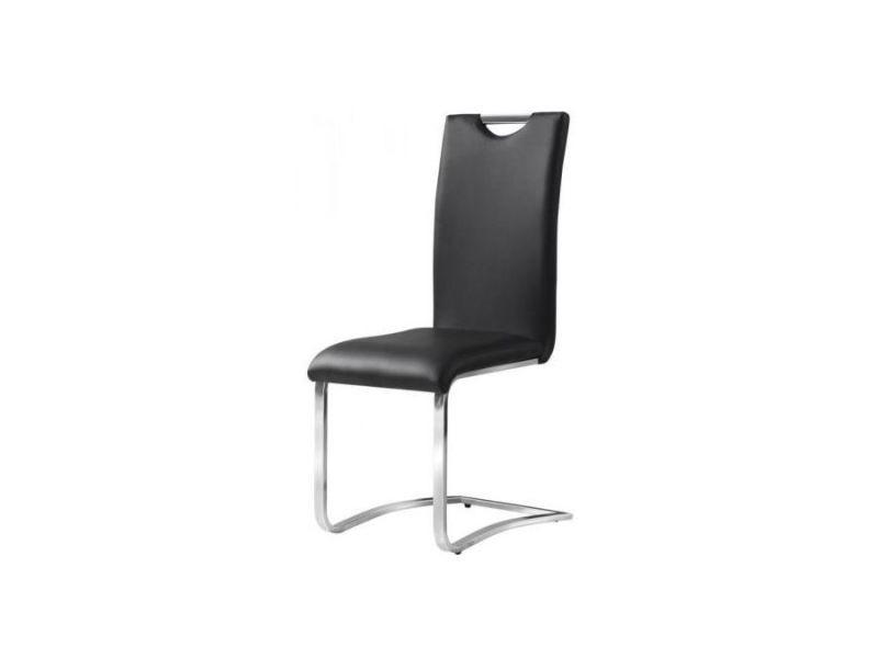 Cori - chaise moderne cuir écologique - dimensions : 101x42x43 cm - salle à manger salon bureau modernes - design ergonomique - noir