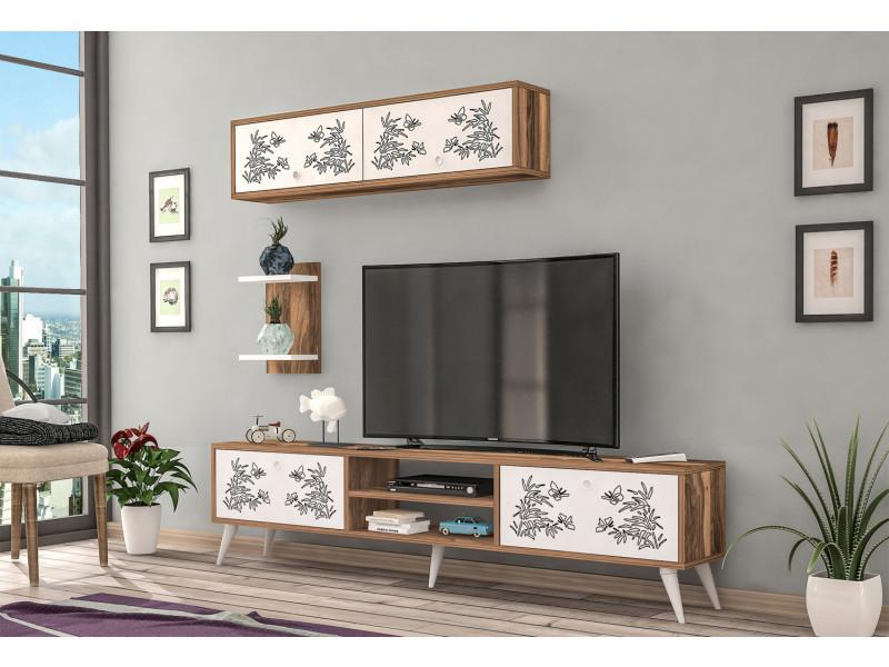 Meuble tv design miros motif bois noyer marron clair et blanc