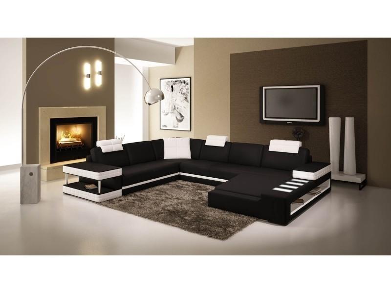 Canapé d'angle panoramique en cuir noir et blanc marcus (droit)-