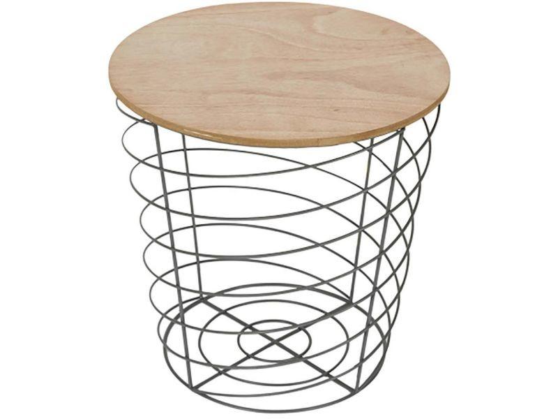 Table d'appoint filaire en bois et métal cyclone gris clair