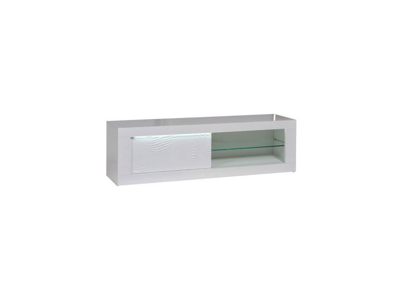 Meuble tv 1 porte coulissante laqué blanc à leds - marks - l 170 x l 45 x h 50 - neuf
