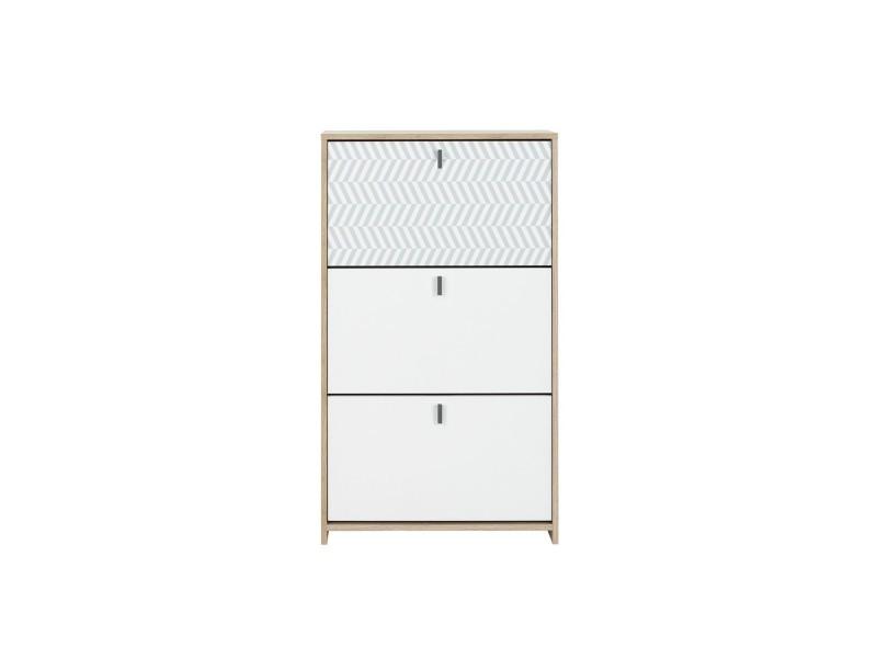Janeiro meuble a chassures - style scandinave - décor chene et blanc - l 68 x p 30 x h 116 cm 1E03042