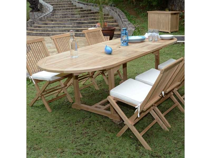 Salon de jardin en teck ecograde tanao, table extensible 1.60 à 2,40 ...